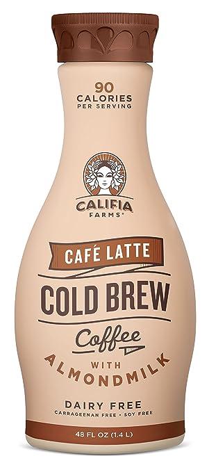 Califia Farms Café Latte Cold Brew Coffee with Almondmilk, 48 Oz | Dairy  Free | Plant Based | Nut Milk |