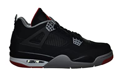 new products 81d41 b2df7 Jordan Air 4 Retro Bred Men s Basketball Sneakers Black Grey Red Black Grey