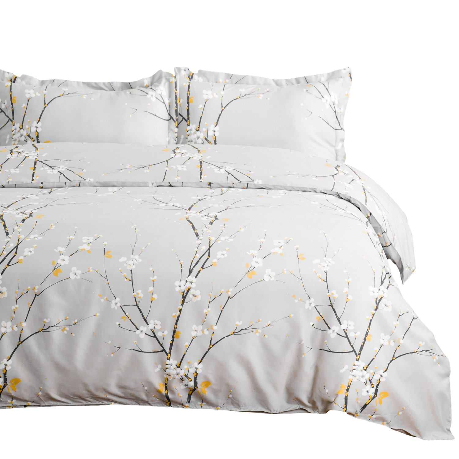 "Bedsure Spring Bloom Pattern Bedding Set Full/Queen (90""x90"") Duvet Cover Set Grey Printed Modern Comforter Cover-3 Pieces-Ultra Soft Hypoallergenic Microfiber"