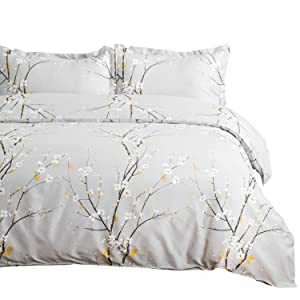 """Bedsure Spring Bloom Pattern Bedding Set Full/Queen (90""""x90"""") Duvet Cover Set Grey Printed Modern Comforter Cover-3 Pieces-Ultra Soft Hypoallergenic Microfiber"""