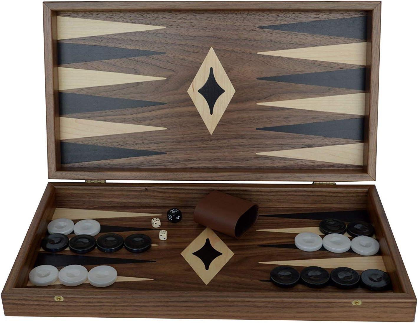 Manopoulos Traditional Walnut Wood Backgammon Set - Handmade in Greece