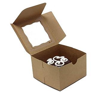 Cajas de panadería con ventana. Sostiene magdalenas o magdalenas; pasteles, productos horneados, dulces. Juego de 25
