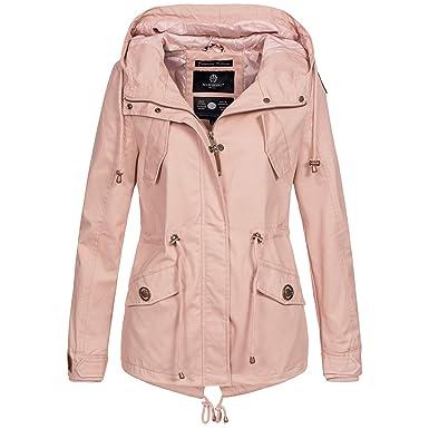 buy online 8a6a4 137a7 Marikoo Damen Jacke Parka Übergangsjacke leicht Mantel Kapuze Frühling  Herbst Sommer ManoSun XS-XXL 7-Farben