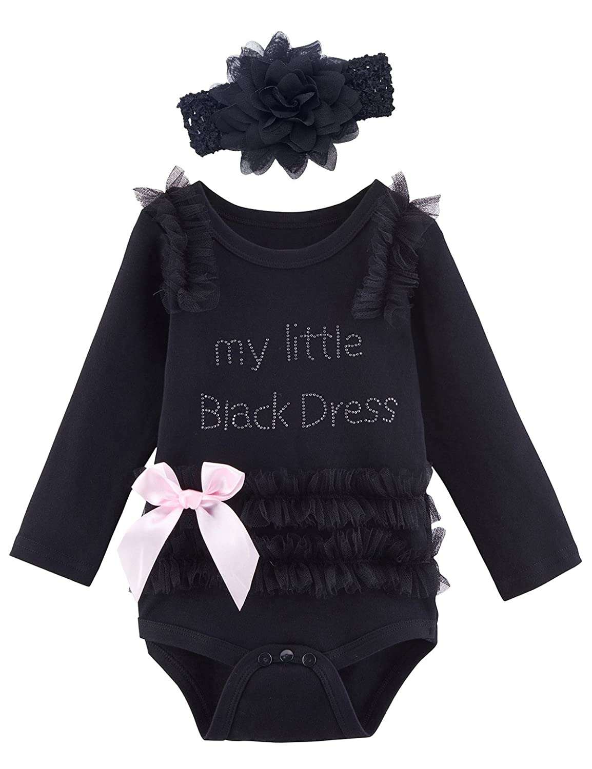 480abe6e96b4 Amazon.com: Mombebe Baby Girls' My Little Black Dress Bodysuit with  Headband (6-12 Months, Black): Clothing