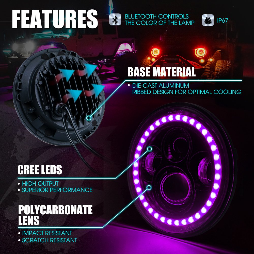 Xprite 7 Inch Bluetooth Rgb Led Headlights For Jeep Rib Harness Clip Wiring Wrangler Jk Tj Lj 1997 2018 W Halo Ring Drl And Turn Signal Function Cree Chip