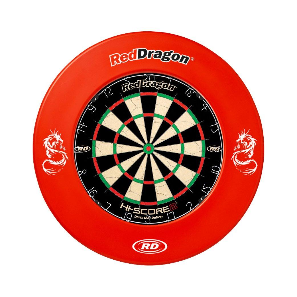 Red Dragon Hi-Score 2 Dartboard & Printed Surround - Combo Set Red