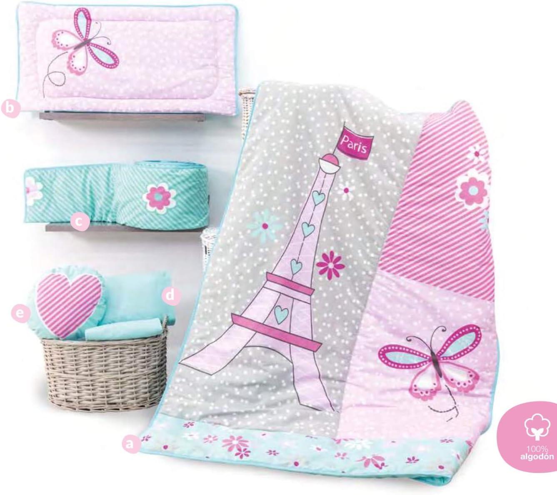 EIFFEL TOWER BABY GIRLS CRIB BEDDING SET NURSERY 6 PCS FOR BABY SHOWER GIFT