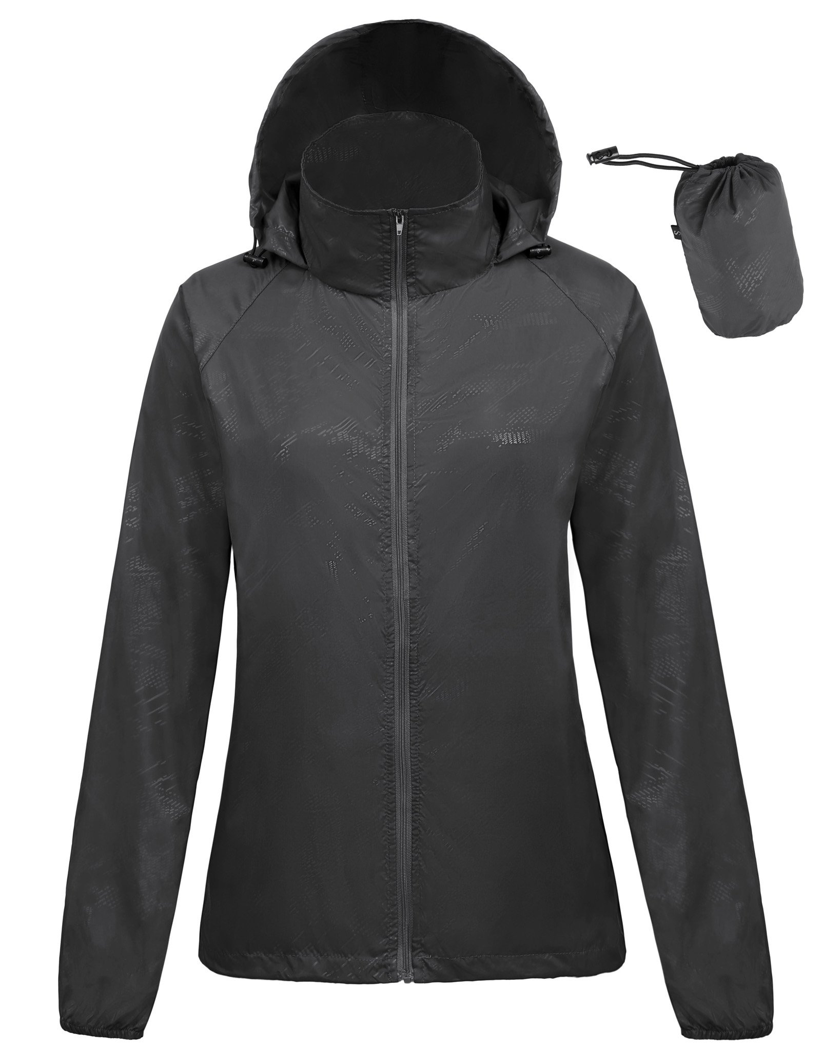 Kate Kasin Ladies Sport Anorak Black Running Jacket Lightweight Hoody (XL,Black1001)