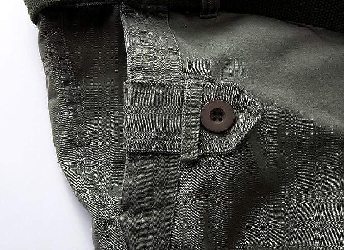 MMCP Men Utility Casual Solid Color Plus Size Cotton Multi Pockets Cargo Pants