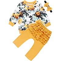 Newborn Baby Girls Clothes Floral Printed Long Sleeve T-Shirt Tops Ruffle Layer Long Pants with Headband Outfits