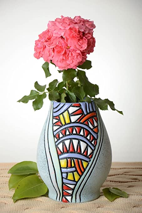 Amazon.com: Unusual Handmade Ceramic Vase Flower Vase Design ... on handmade lamp, handmade porcelain vases, handmade decorative items, handmade flower pins, handmade frame, handmade flower chandelier, handmade baskets, handmade flower jar, handmade flower jewelry, red rose bouquet in vase, handmade flower tea, handmade toys, handmade flower earrings, handmade urns, handmade flower tree, handmade flower wreath, handmade flower box, handmade incense burner, handmade flower pot, handmade flower bouquet,
