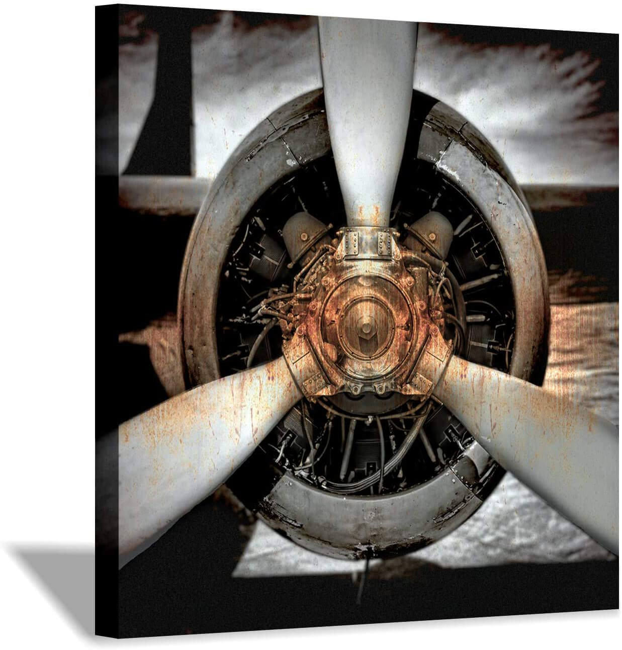 Airplane Propeller Canvas Wall Art: Plane Engine Artwork Vintage Aircraft Painting Print Pictures for Office (24'' x 24'' x 1 Panel)
