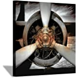 Airplane Propeller Canvas Wall Art: Plane Engine Artwork Vintage Aircraft Painting Print Pictures for Office (24'' x 24'' x 1