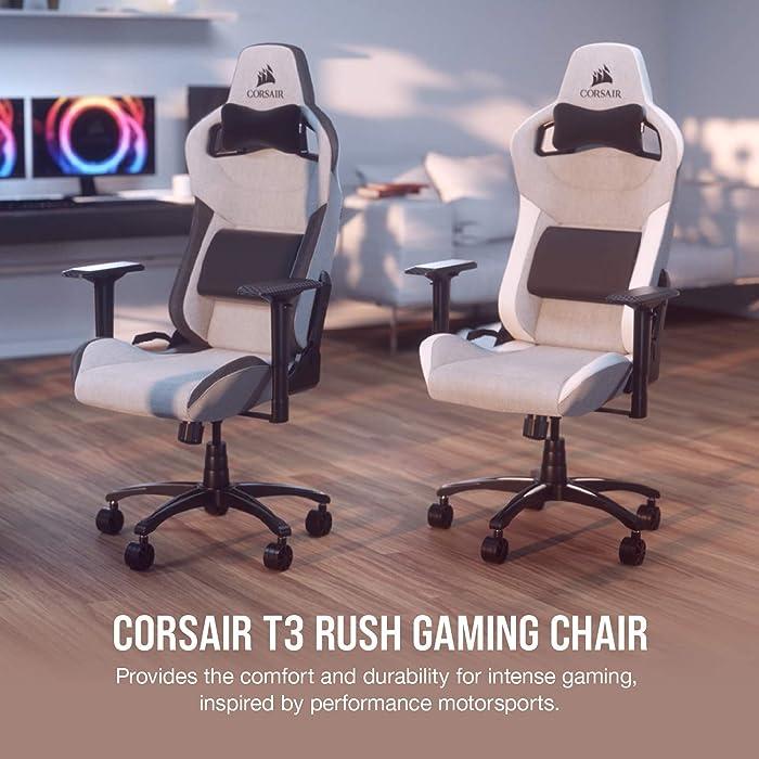 CORSAIR T3 RUSH Gaming Chair Comfort Design, Gray/White