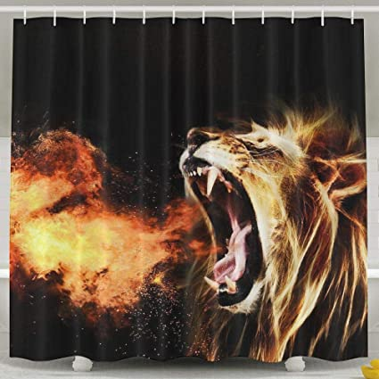 JJUSTING Roaring Lion Shower Curtain Waterproof Polyester Fabric Sets Decoration Decor 60x72 Inch