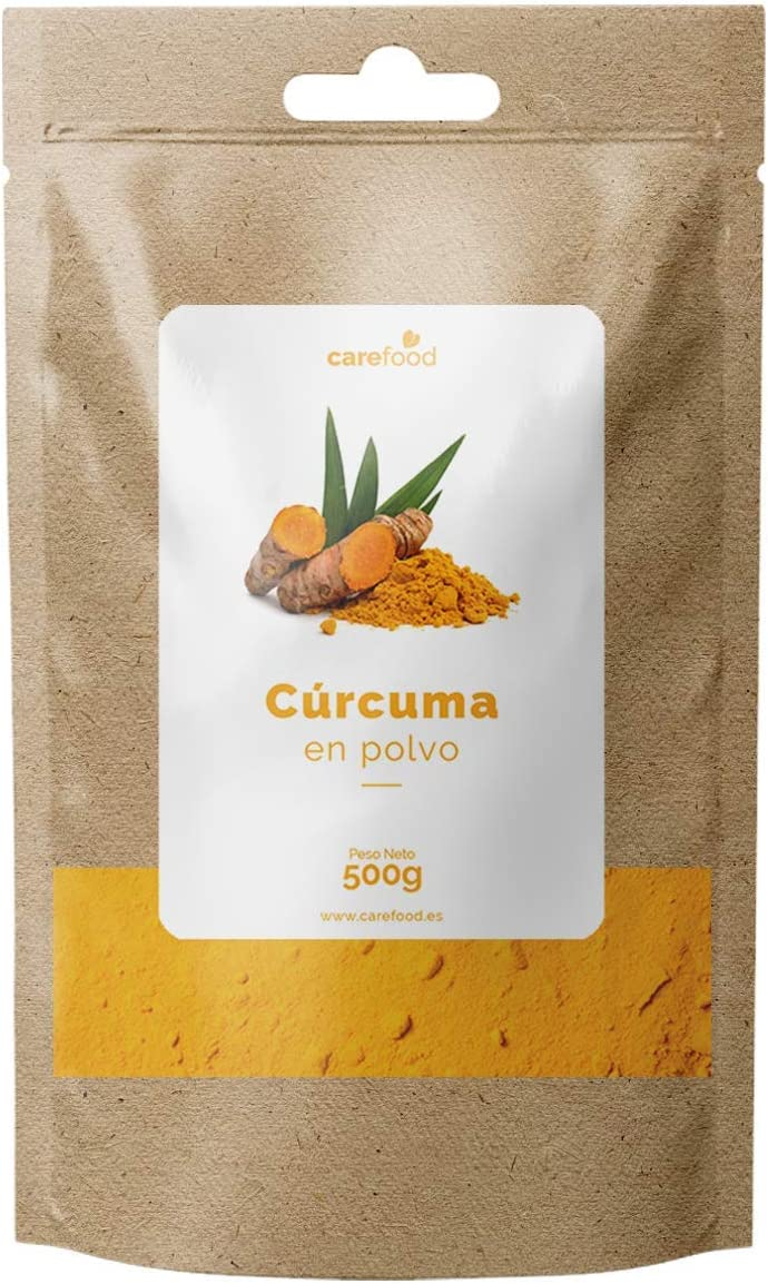 Cúrcuma en Polvo 100% Orgánica 500gr Carefood | Ecológica Procedente de la India | Superalimento Ecológico