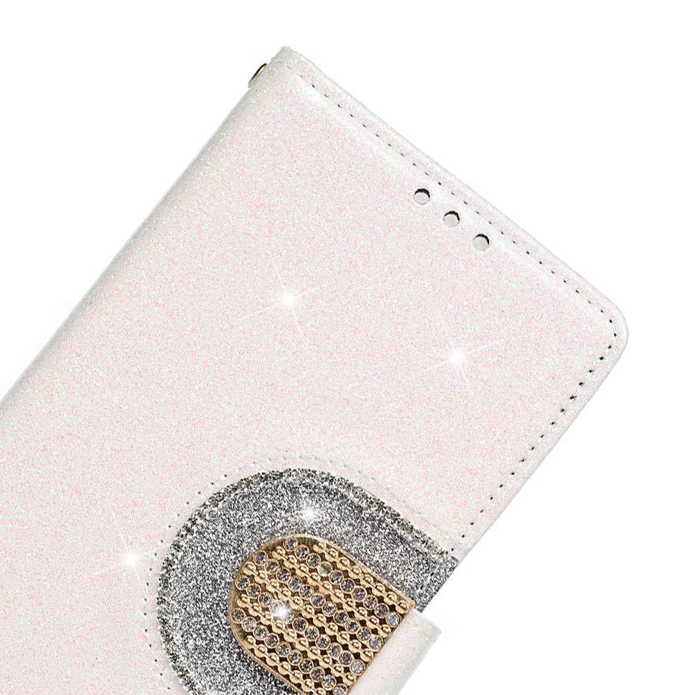 Bling Miroir Portefeuille Flip Coque en Cuir PU Antichoc Fonction de Support Coque de Protection Etui Coque pour Galaxy A7 2018 Blanc Coque Samsung Galaxy A7 2018 Housse Portefeuille Beaulife