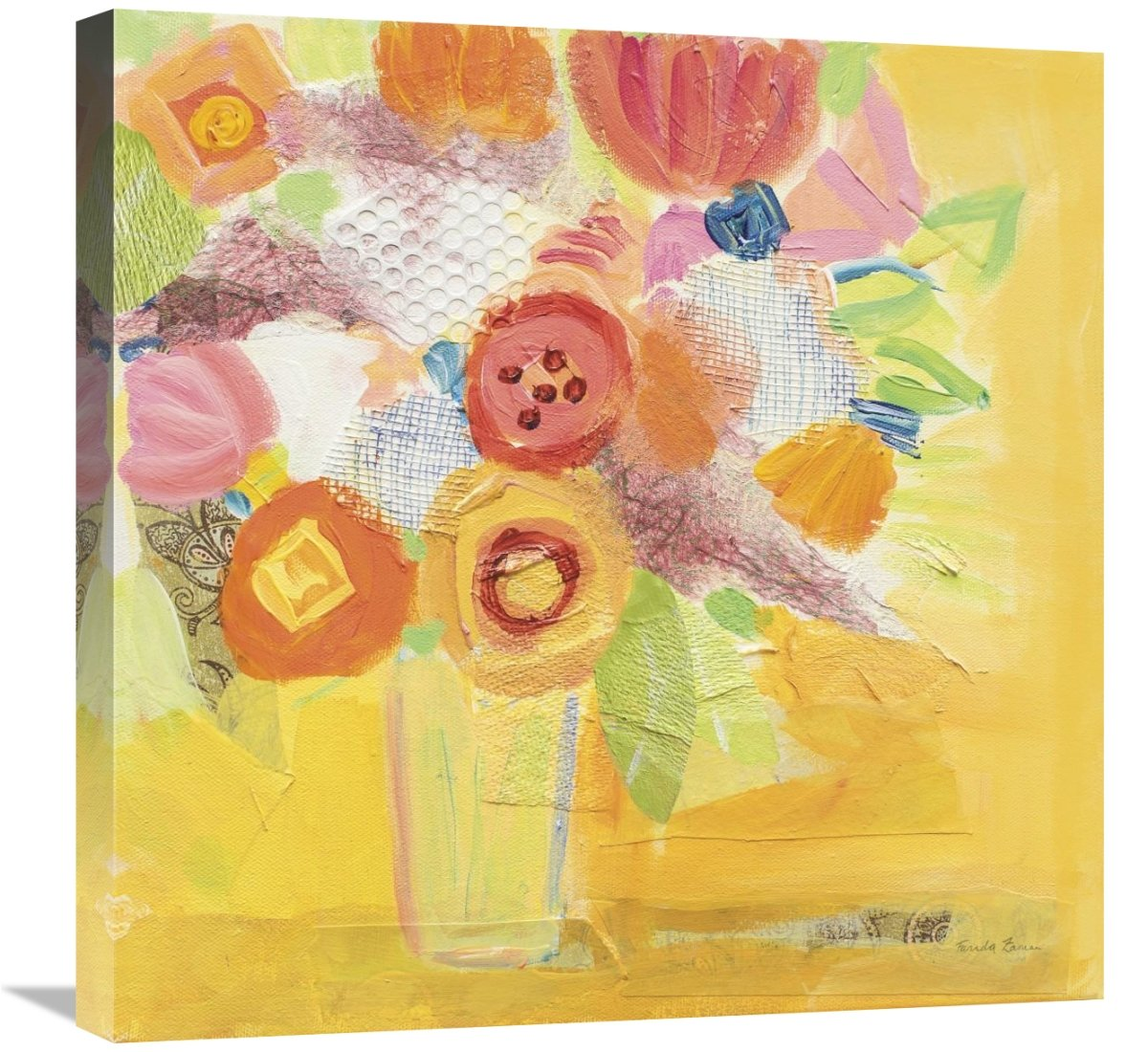 Global Gallery Farida Zaman Misty Yellow Floral Giclee Stretched Canvas Artwork 24 x 24