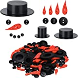 700 Pieces Christmas Embellishments Kit Includes Mini Christmas Hats Wiggle Eyes Carrot Nose Buttons Christmas Mix Color Buttons for Xmas DIY Craft Sewing Accessories
