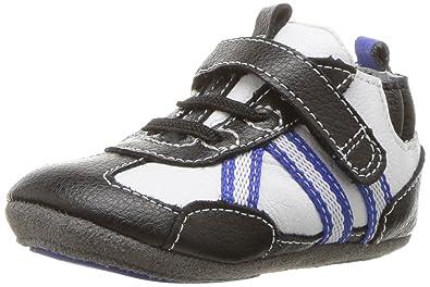 2e339357 Robeez Boys' Sneaker-Mini Shoez Crib Shoe, Jogging Josh - Black 3-