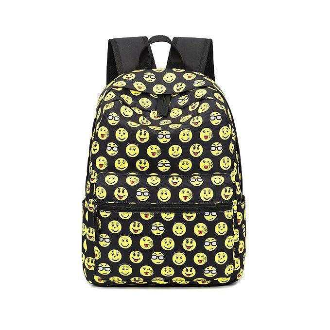 SusuTOP Kids Cute Emoji Mochilas escolares los niños lienzo gran capacidad bolsa de hombro +mini bolso + bolso crossbody (Amarillo): Amazon.es: Equipaje