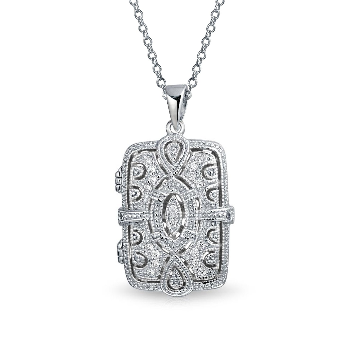 Vintage Style Filigree Cubic Zirconia CZ Rectangle Pendant Necklace Locket For Women For Mother 925 Sterling Silver