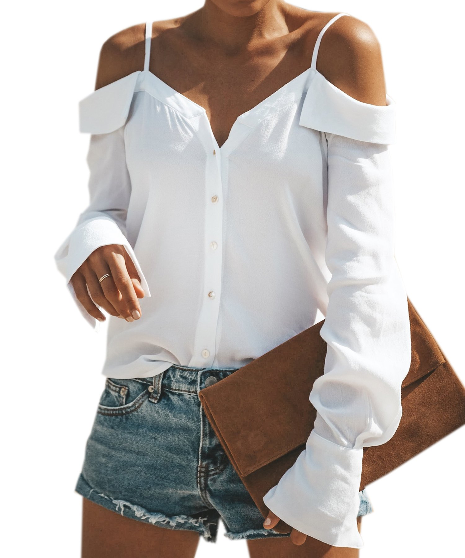 ECOWISH Womens Shirts Sexy Spaghetti Strap Off Shoulder Long Sleeve Shirts Casual Button Down Blouse Tops White L