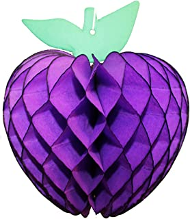 product image for 3-Pack 7 Inch Honeycomb Paper Apple Decoration, Purple