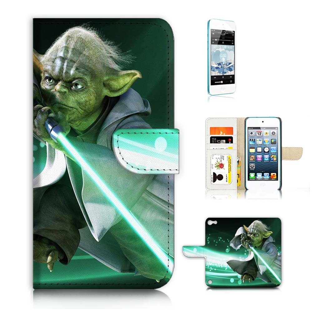 ( For iPod Touch 5 / iTouch 5 ) Wallet Case Cover & Screen Protector Bundle! A8575 Starwars Yoda