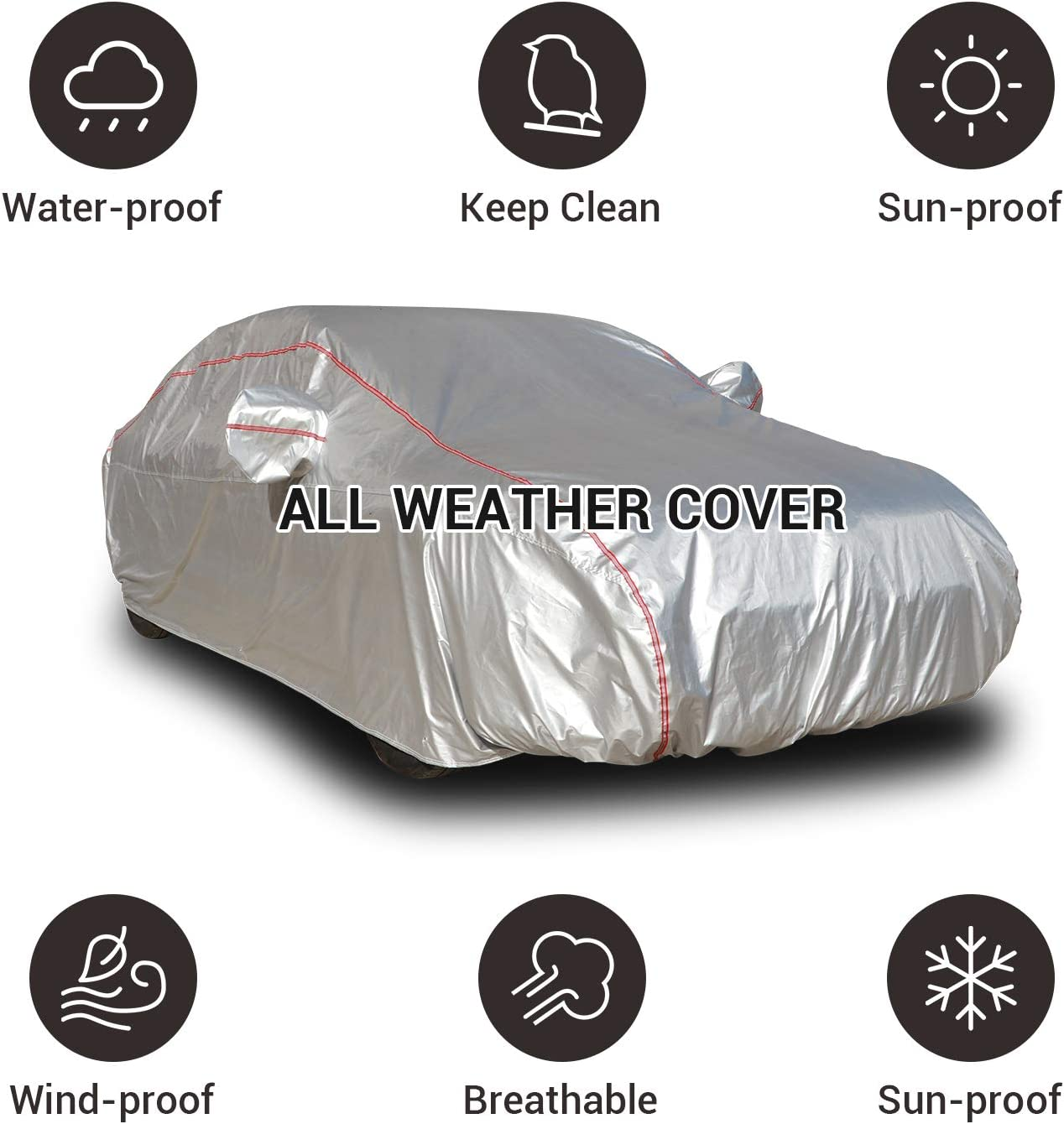 Shieldo Basic Car Cover with Build-in Storage Bag Door Zipper Windproof Straps and Buckles 100/% Waterproof All Season Weatherproof Fit 191-200 Length Sedan
