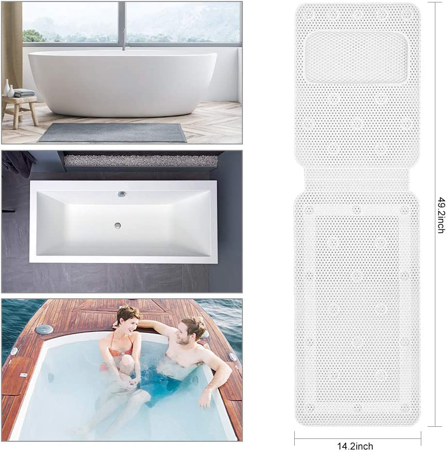 Jacuzzi Spa Confort pour Salle de Bain Ketong Tapis de Baignoire antid/érapant avec Coussins 35,6 x 124,5 cm Coussin de Baignoire avec Ventouse