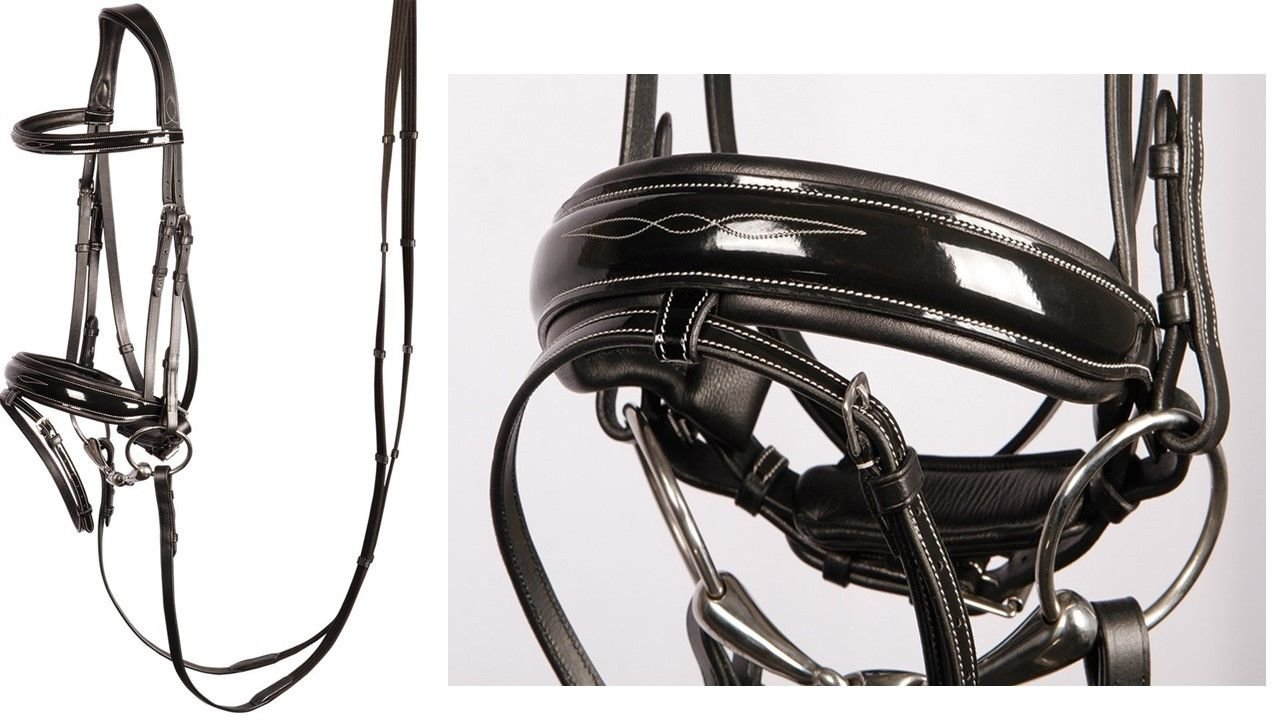 Warmblood Harry's Horse Bridle Elegant Black Leather With Patent and Embroidery incl. Reins