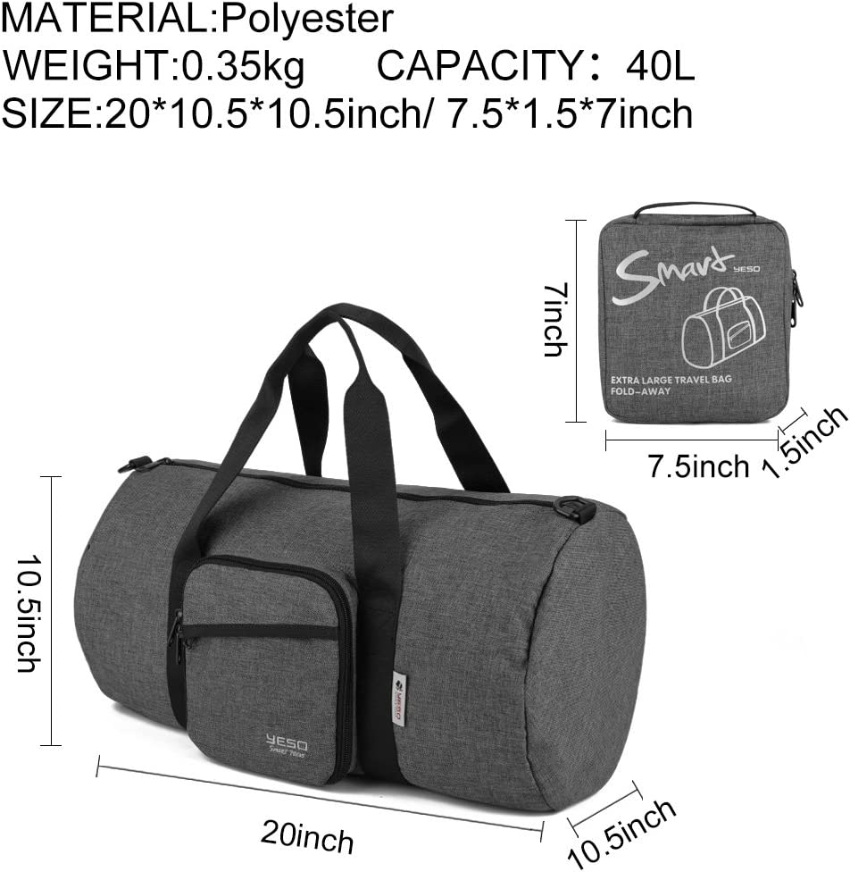 Sports Bag for Men Lightweight Foldable Duffel Bags for Weekend Travel Gym 40L by YESO