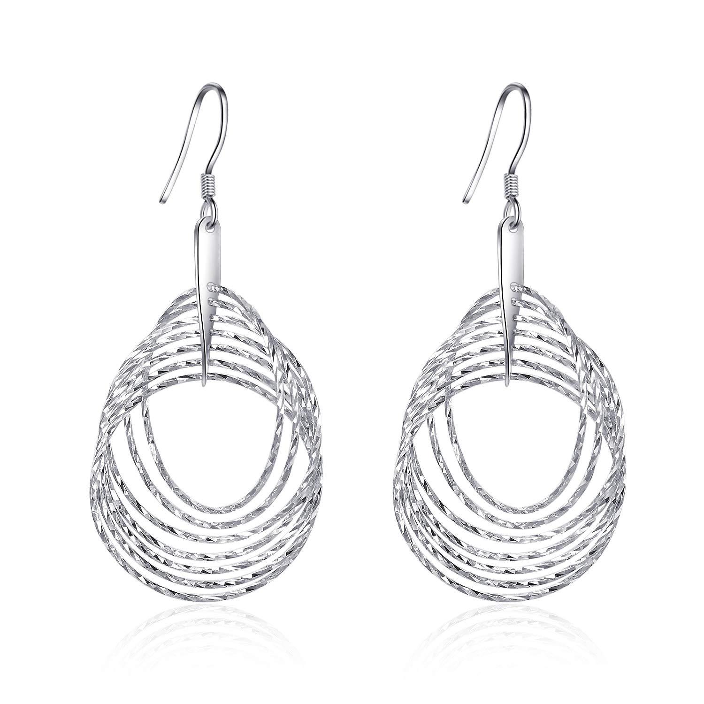 LUHE Classic Multi Hoop Dangle Earrings Sterling Silver White Gold Plated Circles Earrings for Women Girls