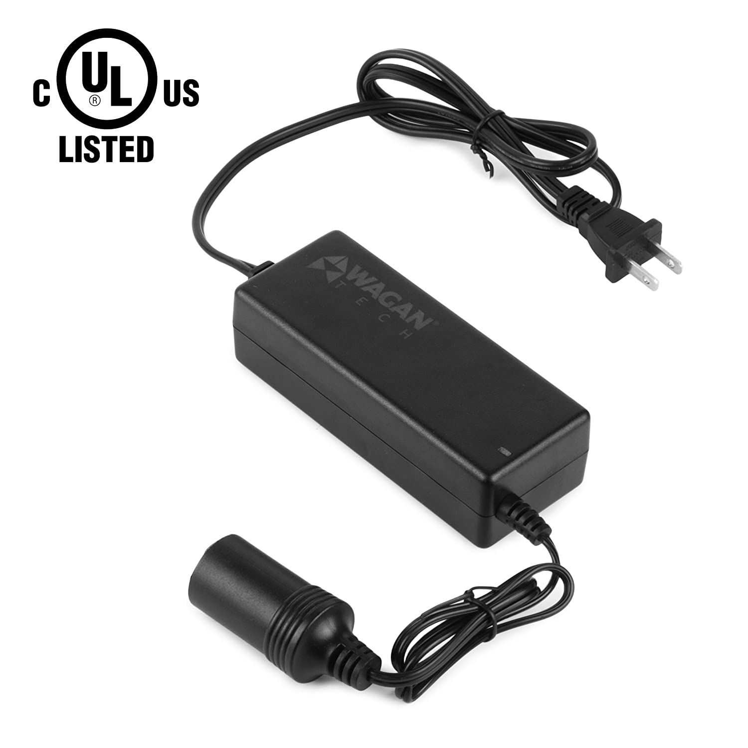 Wagan EL9903-5 amp AC to DC Power Adapter, 5A Power Converter, Converts 110V AC to 12V DC, Car Cigarette Lighter Socket, UL Listed