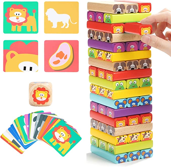 51 Pieces with Storage Bag Lekebaby Jenga Game Stacking Blocks Wooden Tumbling Tower for Kids Adults up 3 Years