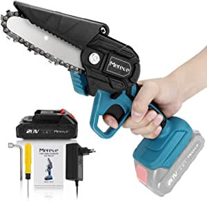 Mini Chainsaw, Merece 4 Inch 20v Electric Chainsaw, Portable Handheld Cordless Chainsaw for gardening pruning tree trimming wood cutting, Battery and Charger Included