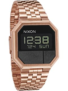 Nixon Re-Run Mens 80s Style Digital Watch (38.5mm. Stainless Steel Band