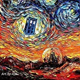 doctor who painting - Starry Night Tardis print van Gogh Never Saw Gallifrey by Aja 8x8, 10x10, 12x12, 20x20, and 24x24 inches choose