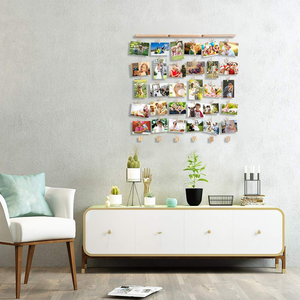 Uping Hanging Photo Display Wood Wall Photo Display Board with Rope and 30 Small Memo Clips | 66 cm x 74 cm | Design Photo Frame