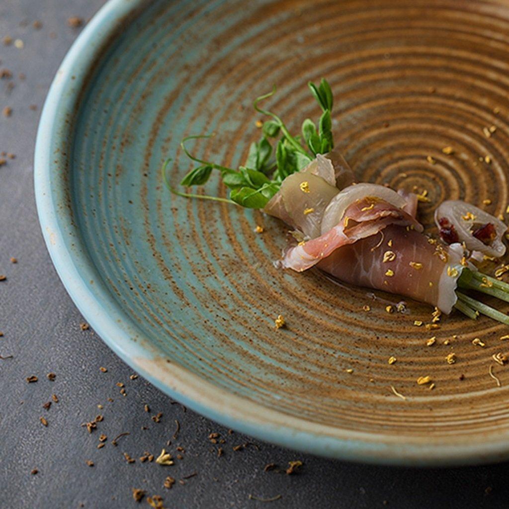 He Xiang Ya Shop Ceramic soup plate deep dish retro round fruit salad plate Flat dish steak plate 20.5 cm (8 inches) by He Xiang Ya Shop (Image #4)