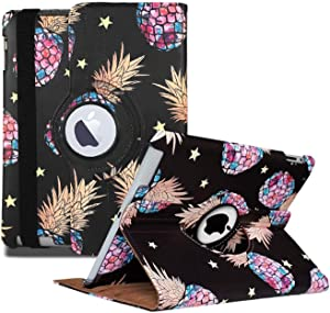 iPad 2/3/4 Case - 360 Degree Rotating Stand Smart Case Protective Cover with Auto Wake Up/Sleep Feature for Apple iPad 4, iPad 3 & iPad 2 (Black Pineapple)