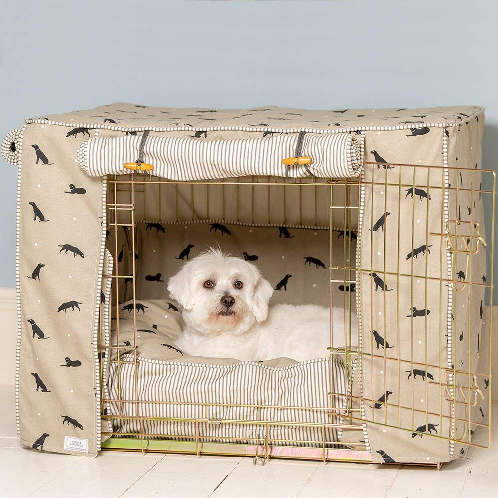 Black Crate Small Black Crate Small Crate Cover Set in Sophie Allport Labrador Designer Fabric with Ellie-Bo Crate (Includes a dog crate, crate cover and cushion) (Small, Black Crate)