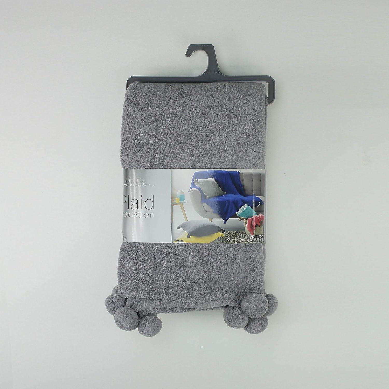 150x125 cm Gris Douceur dInt/érieur Plaid /à Pompons Polyester
