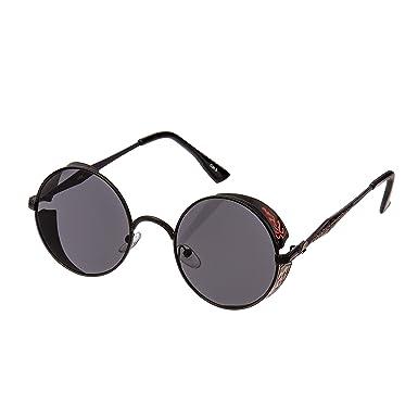 43420491472b Ultra Black Frame with Black Lenses Steampunk Sunglasses Glasses Retro  Women Men 50s Round Rave Gothic Vintage Victorian Cyber Welding Cosplay  UV400 ...