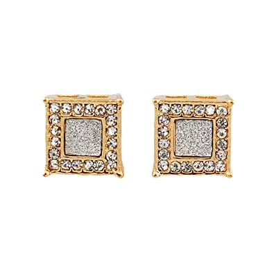 4e0320f92 Image Unavailable. Image not available for. Color: Mens Gold-Tone 10mm Iced  Out Hip Hop Bling Stardust Micropave ...