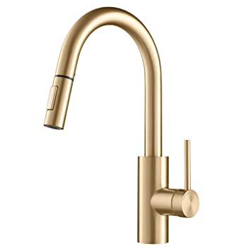 Kraus Oletto Single Handle Pull Down Gooseneck Kitchen Sink Faucet