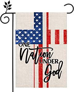CROWNED BEAUTY Patriotic One Nation Under God Welcome Garden Flag 12×18 Inch Double Sided 4th of July Independence Day Memorial Day American Veteran Soldier Yard Outdoor Decor CF125-12