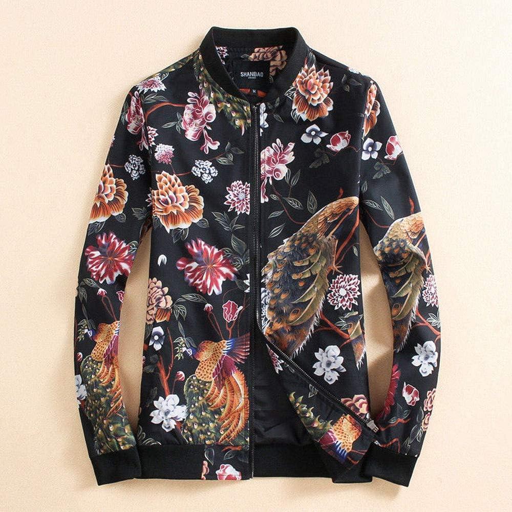 Men Flower Floral Coat Jacket Outerwear Jakke Куртка Fall Spring Wear DG73