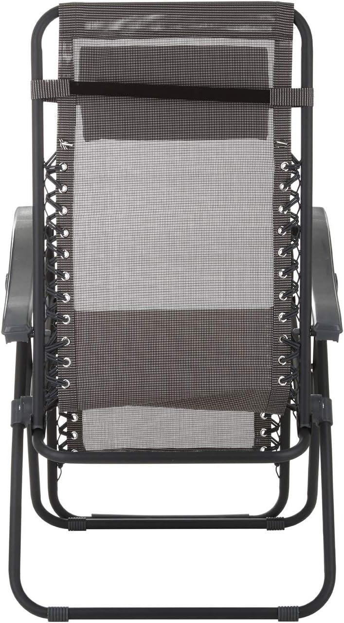 Sdraio reclinabile grigia con braccioli in acciaio Grigio